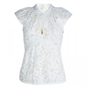 Zac Posen White Floral Print Cap Sleeve Top M
