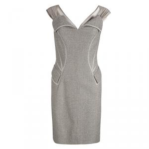 Zac Posen Grey Tweed Sleeveless Cocktail Dress S