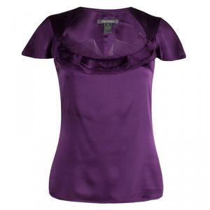 Zac Posen Purple Silk Ruffle Detail Cap Sleeve Top M