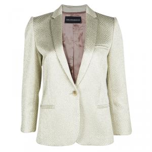 Zadig and Voltaire Deluxe Gold Embossed Jacquard Tailored Blazer M