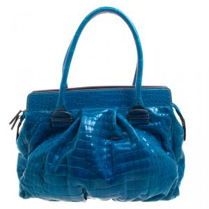 Zagliani Blue Crocodile Custom Made Limited Edition Bag