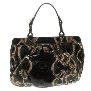 Zagliani Black Python Puffy Hobo
