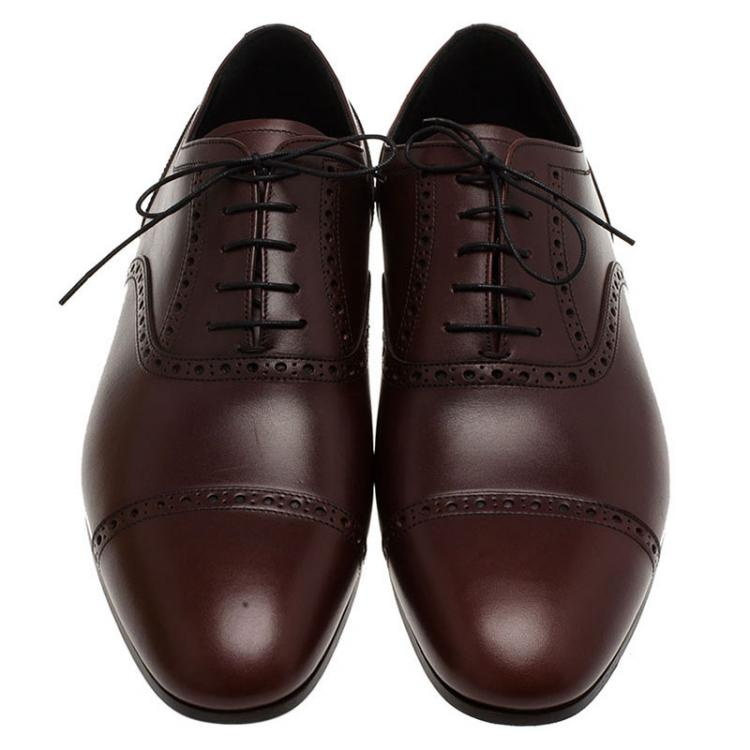 Burberry Brown Brogue Leather Markwell Lace Up Oxfords Size 44