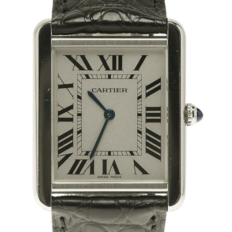 Cartier Silver Stainless Steel Large Tank Solo 2715 Men's Wristwatch 27MM