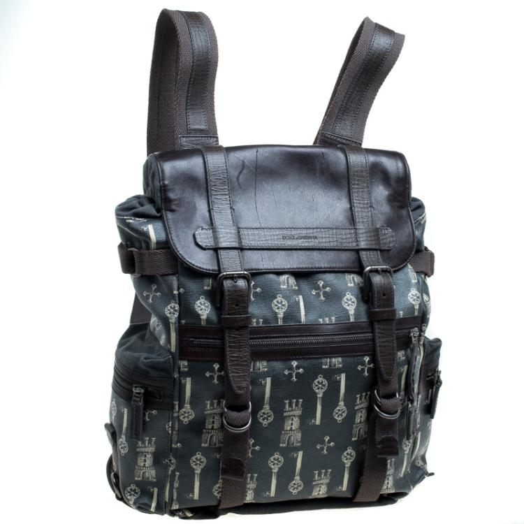 Dolce and Gabbana Brown Coated Canvas and Leather Trimmed Backpack