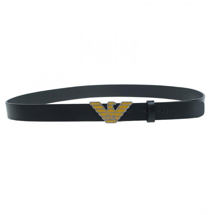 Emporio Armani Black Leather Eagle Buckle One Size Belt Emporio Armani Tlc
