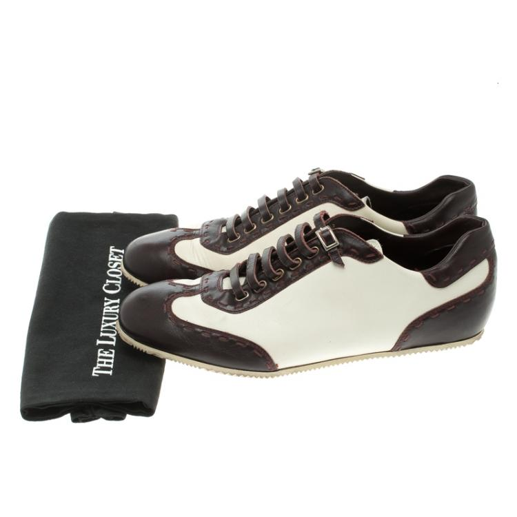 Fendi Two Tone Leather Low Top Sneakers Size 44