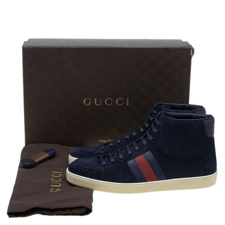Gucci Navy Blue Suede Web Detail High