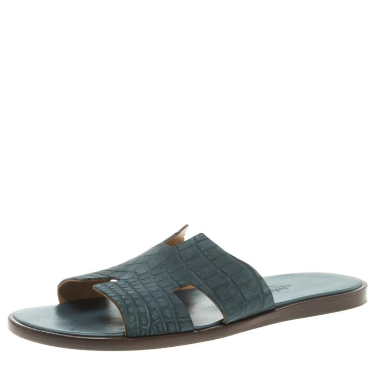 Hermes Slate Grey Croc Leather Izmir Sandals Size 43
