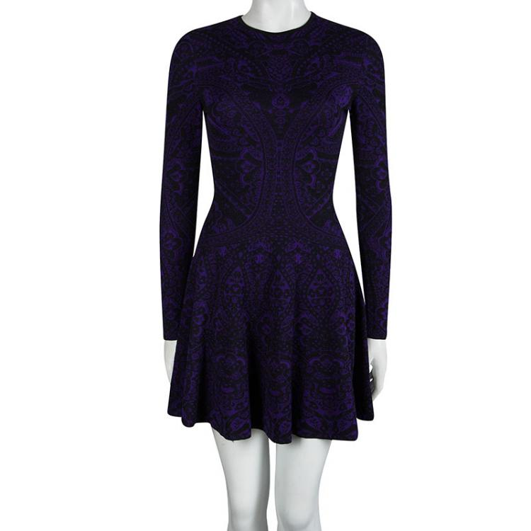 Alexander McQueen Purple Floral Jacquard Knit Long Sleeve Flared Dress S