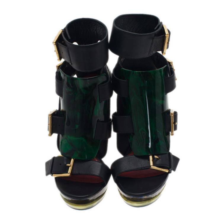 Alexander McQueen Black Plexi Plaque Strappy Platform Sandals Size 38