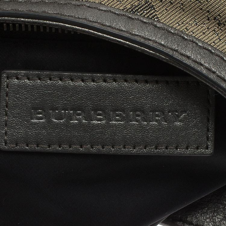Burberry Grey Canvas Medium Shimmer Check Fairby Hobo
