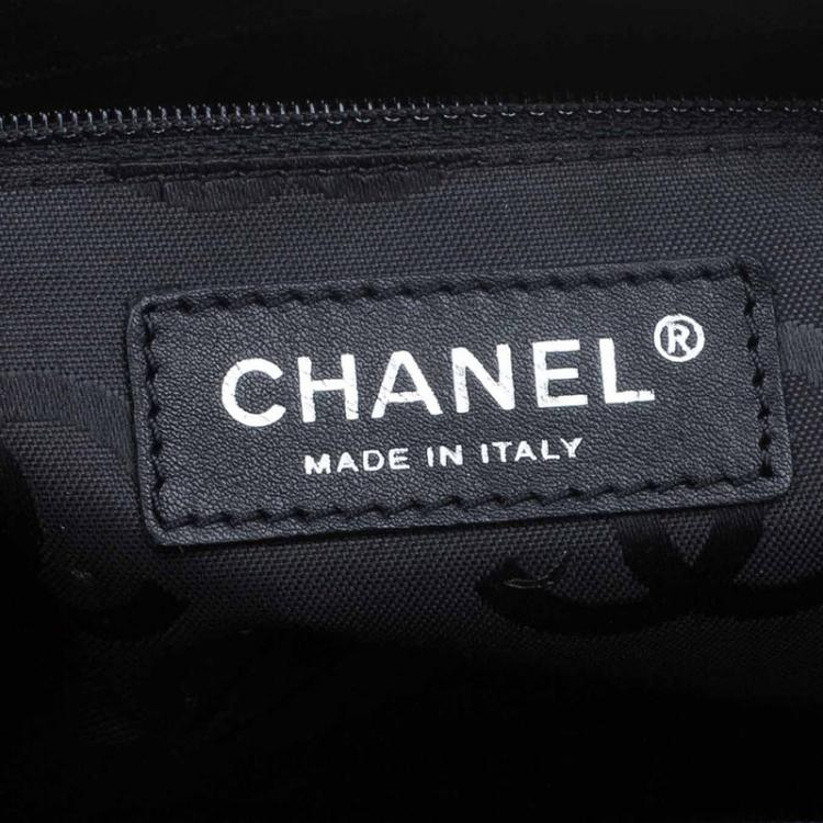 Chanel Black/White Pony Hair Patent Leather Runway Tote