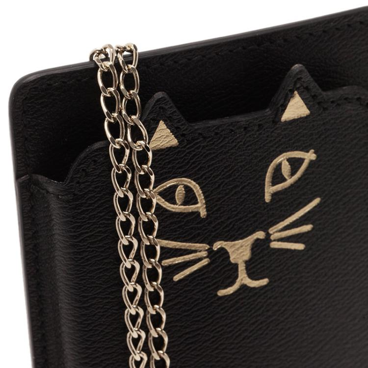 Charlotte Olympia Black Leather Feline iPhone 6 Case with Chain