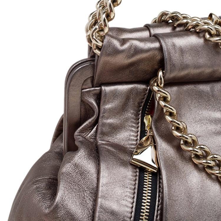 Christian Louboutin Bronze Pleated Leather Loubinette Hobo