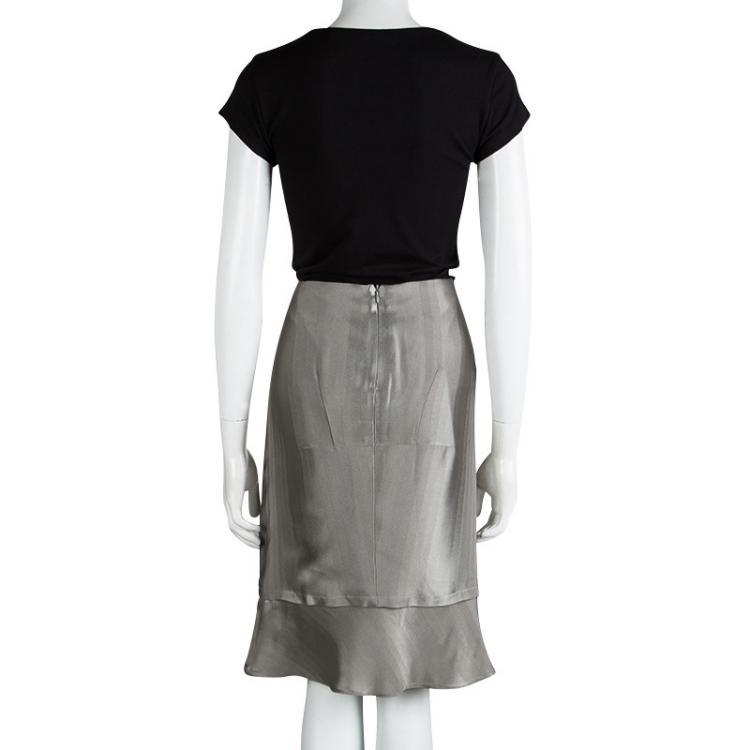 Emporio Armani Grey Satin Gradation Effect Ruffled Bottom Skirt L