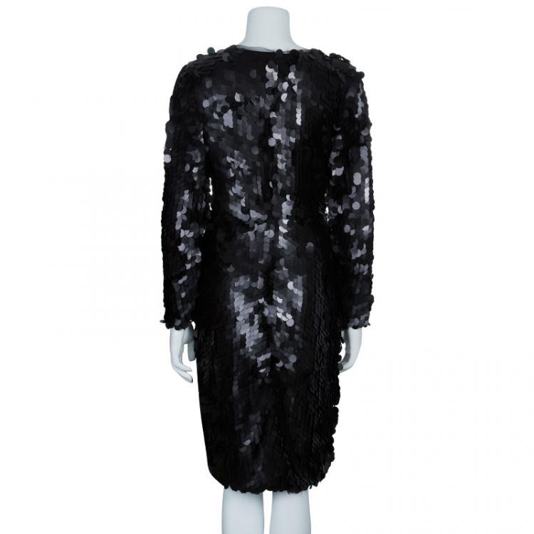 Essa Walla Black Paette Embellished Long Sleeve Dress S/M