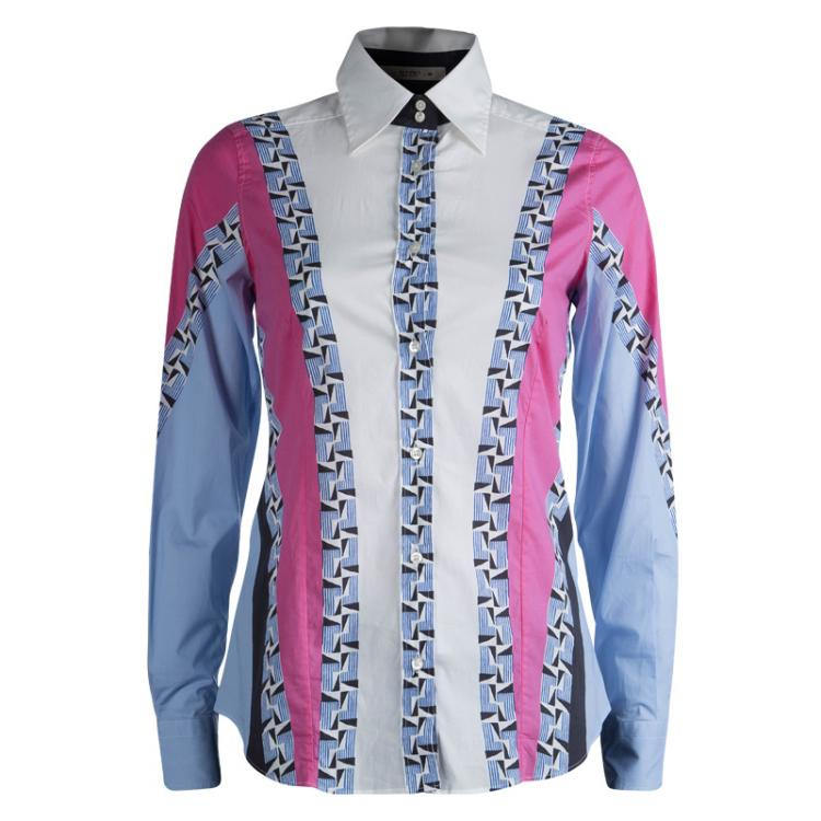 Etro Colorblock Printed Cotton Long Sleeve Button Front Shirt S