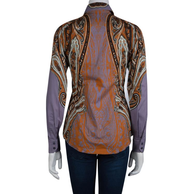 Etro Multicolor Printed Cotton Long Sleeve Button Front Shirt S