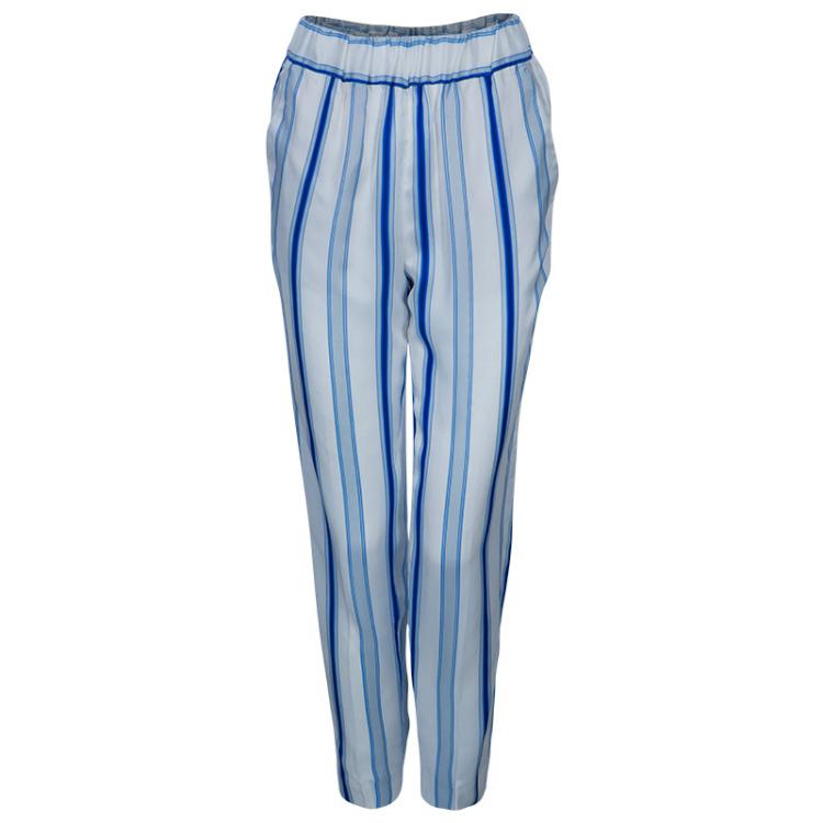 Etro Blue and White Striped Trousers S