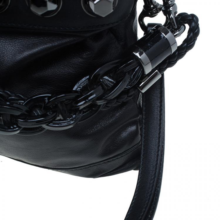 Gucci Black Calfskin Leather Metal Studs Clutch