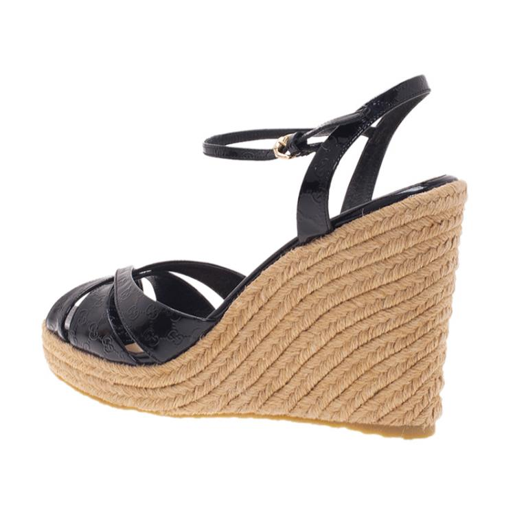 Gucci Black Microguccissima Patent Leather Espadrille Wedges Size 37.5
