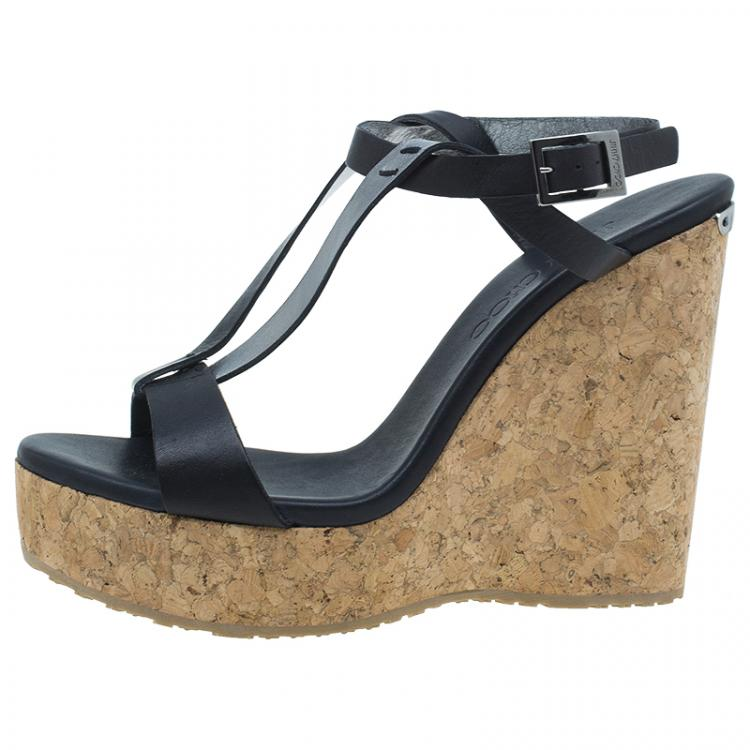 Jimmy Choo Black Native Wedge Sandals Size 37.5