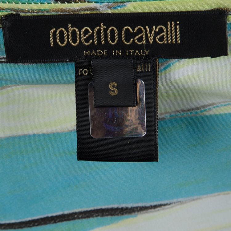 Roberto Cavalli Printed  Ruffle Bottom Cutout Detail Halter Maxi Dress S