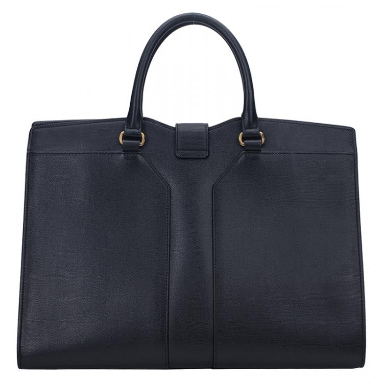 Saint Laurent Paris Black Textured Leather Large Cabas Chyc Tote