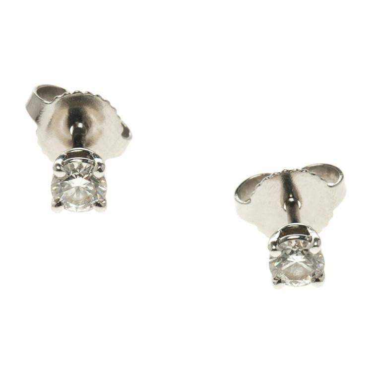 Tiffany Solitaire Diamond Platinum Stud Earrings Tiffany Co Tlc