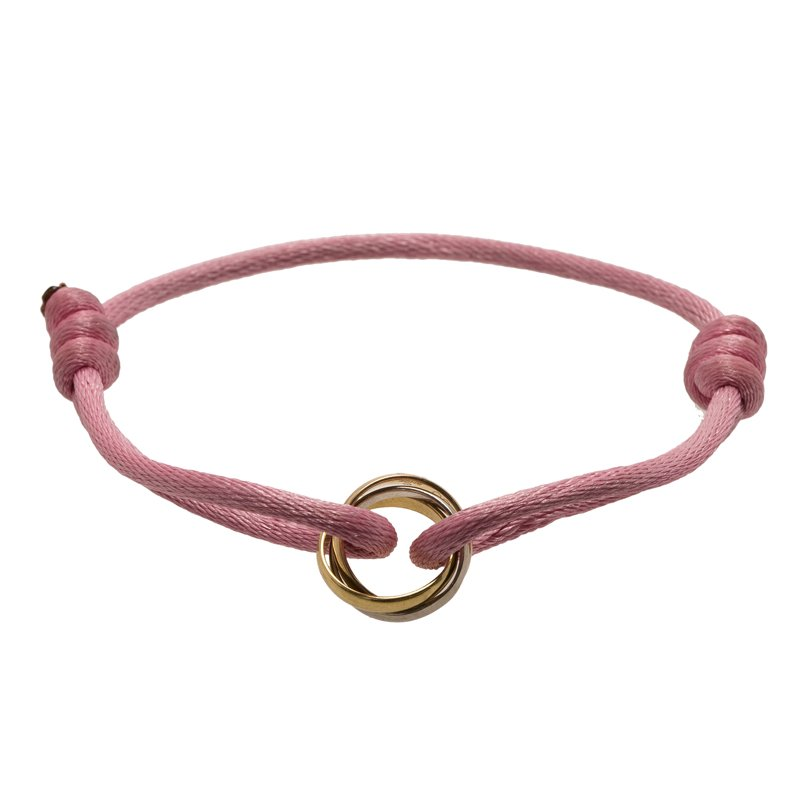 Cartier Trinity Three Tone Gold Pink Adjustable Cord Bracelet.  nextprev. prevnext