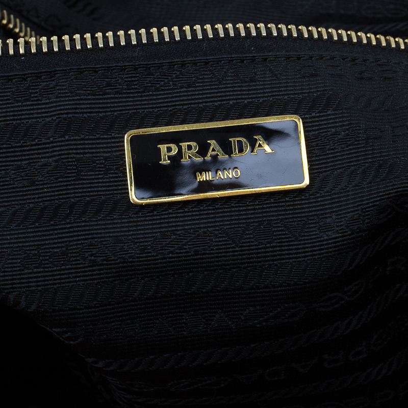 Prada Black Tessuto Nylon And Saffiano Leather Tote Bag