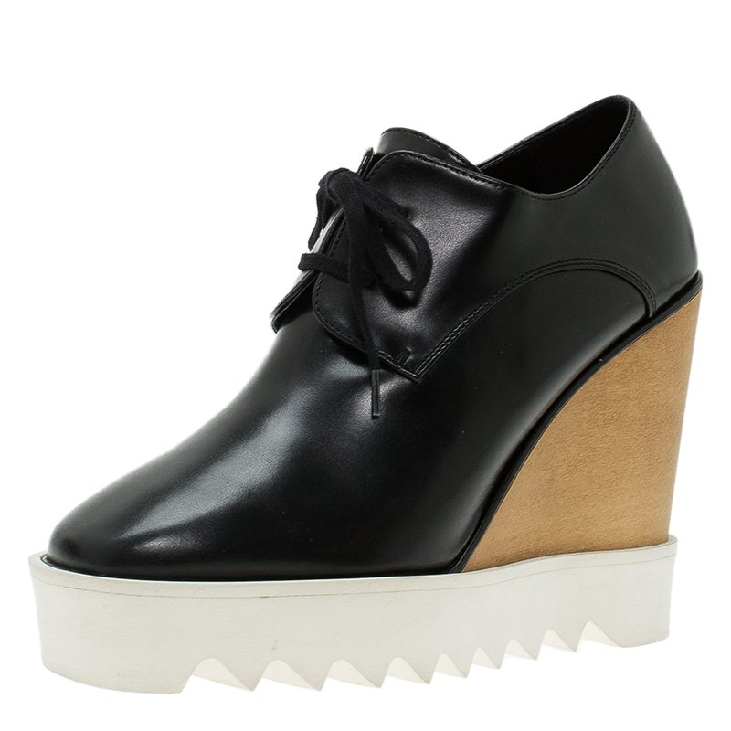 footlocker finishline for sale Tie Up Faux Leather Wedge Shoes - Black 38 visit cheap price z4dqdb