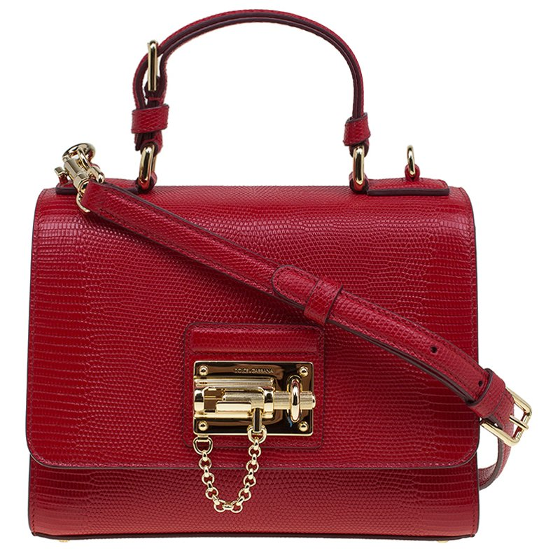 Dolce and Gabbana Red Lizard Embossed Leather Small Monica Tote. nextprev.  ... 860df5590b961