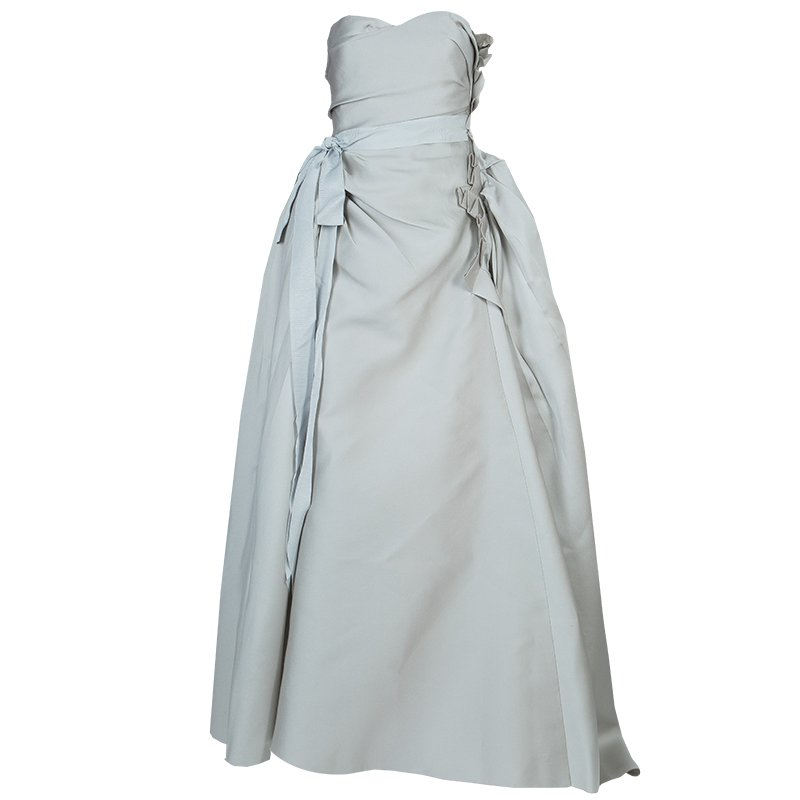 Lanvin Grey Ruched Ruffle Detail Strapless Wedding Gown S - Buy ...