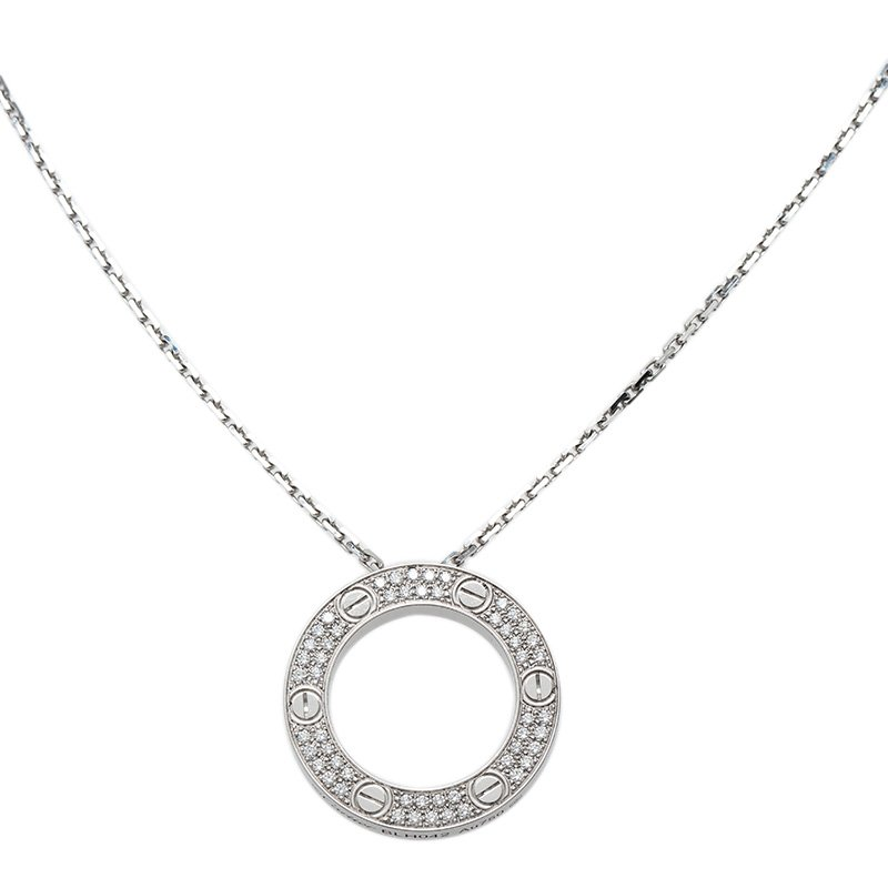 Cartier love diamond pave white gold pendant necklace buy sell lc prevnext aloadofball Choice Image