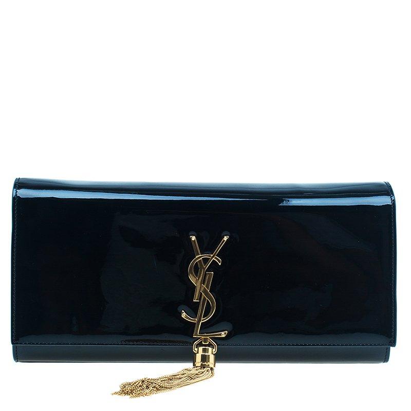 4b01c1091748 Saint Laurent Paris Black Patent Leather Cassandre Tassel Clutch  big ...