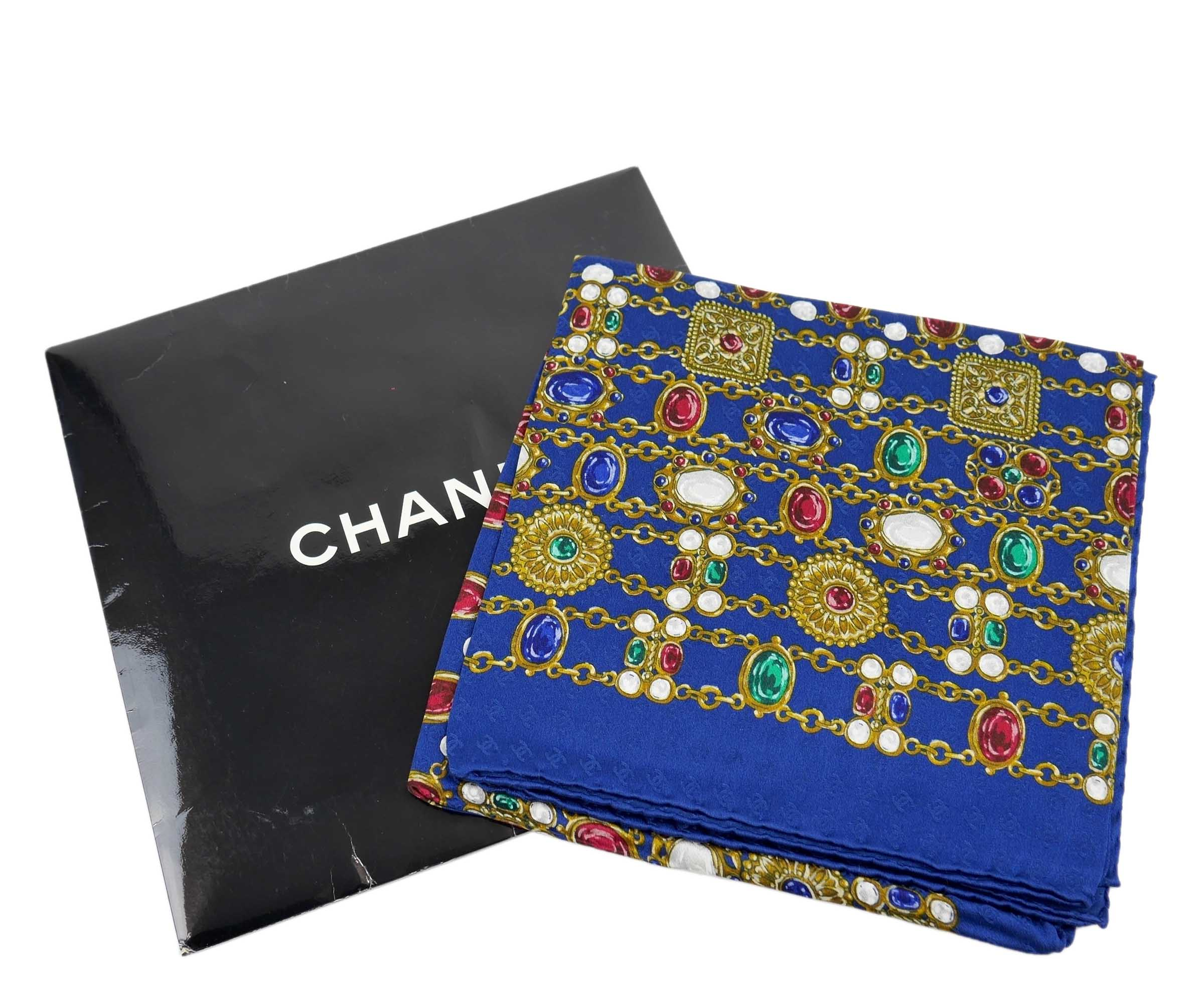 Chanel Blue CC Chain Print Scarf