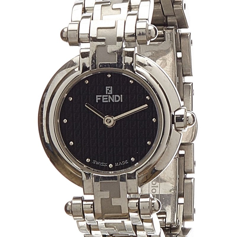 Fendi Black Stainless Steel 750L Women's Wristwatch 25MM