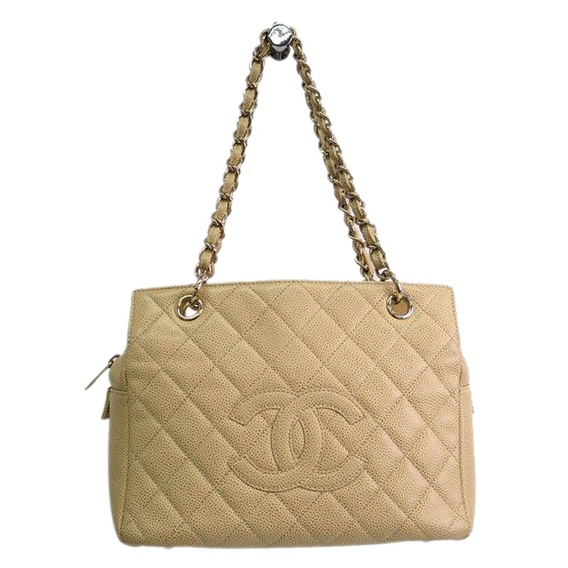 Chanel Beige Quilted Caviar Leather Pee Timeless Tote Nextprev Prevnext