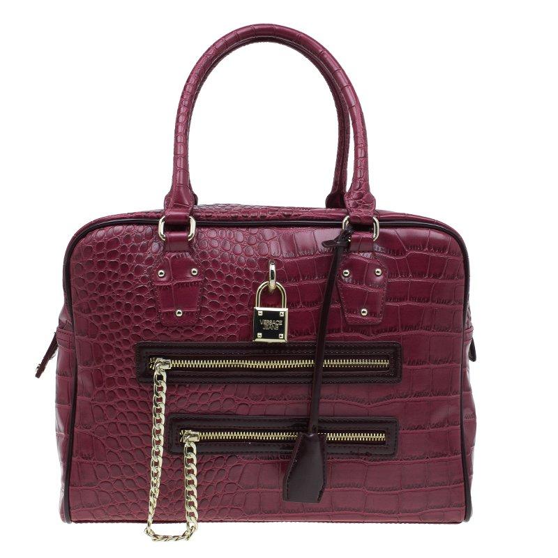 b2f4686b2b3 Versace Jeans Burgundy Croc Embossed Leather Bowling Bag. nextprev. prevnext  watch  Versace Jeans Bowling Tote Bag - Black ...