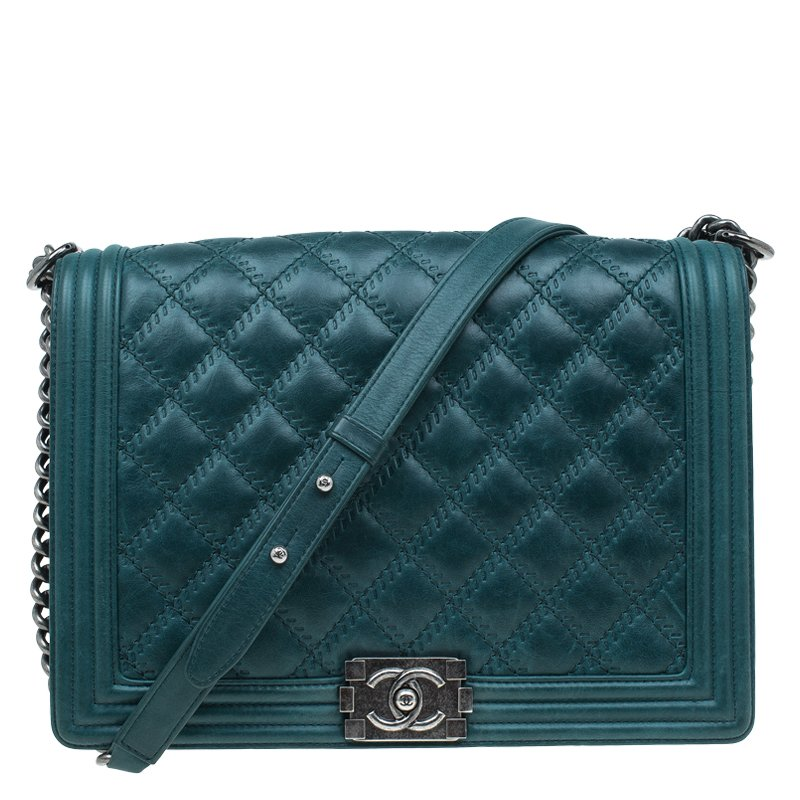 0f3776bb56d1 Chanel Green Quilted Leather Large Embossed Sch Boy Flap Bag