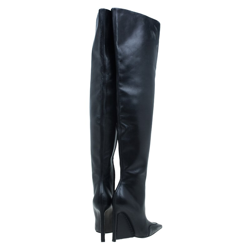 Balenciaga Black Leather and Croc Detail Over the Knee Boots Size 37