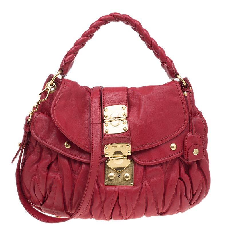 6528e65c9720 Miu Gathered Leather Two Way Bag Lxrandco Pre Owned Red Miu Leather Handbag  With Gold Details And Studs Welcoming Back Miu With The Club Bag Purseblog  ...