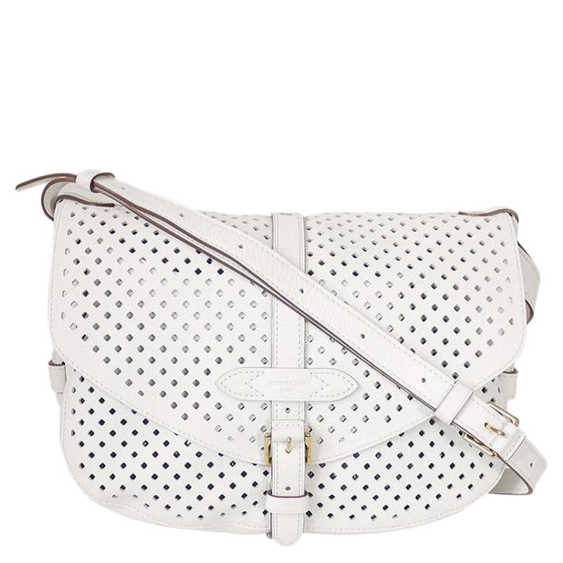 White Perforated Leather Saumur Bag Nextprev Prevnext