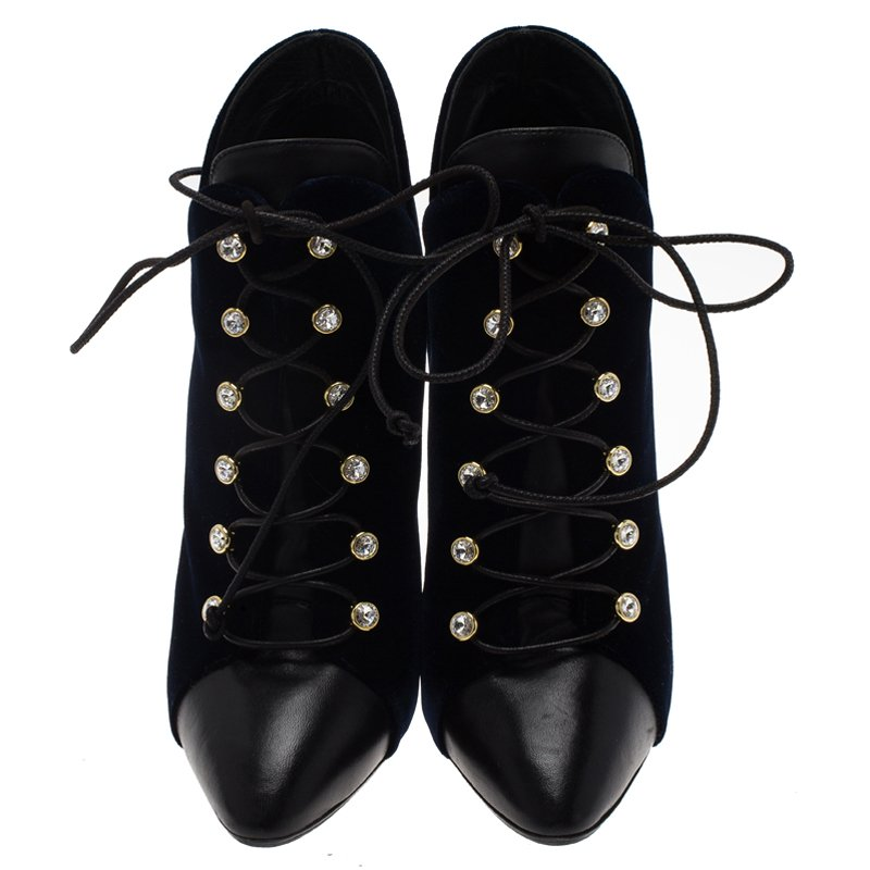 Giuseppe Zanotti Navy Blue Velvet and Black Leather Olinda Lace Up Ankle Boots Size 39