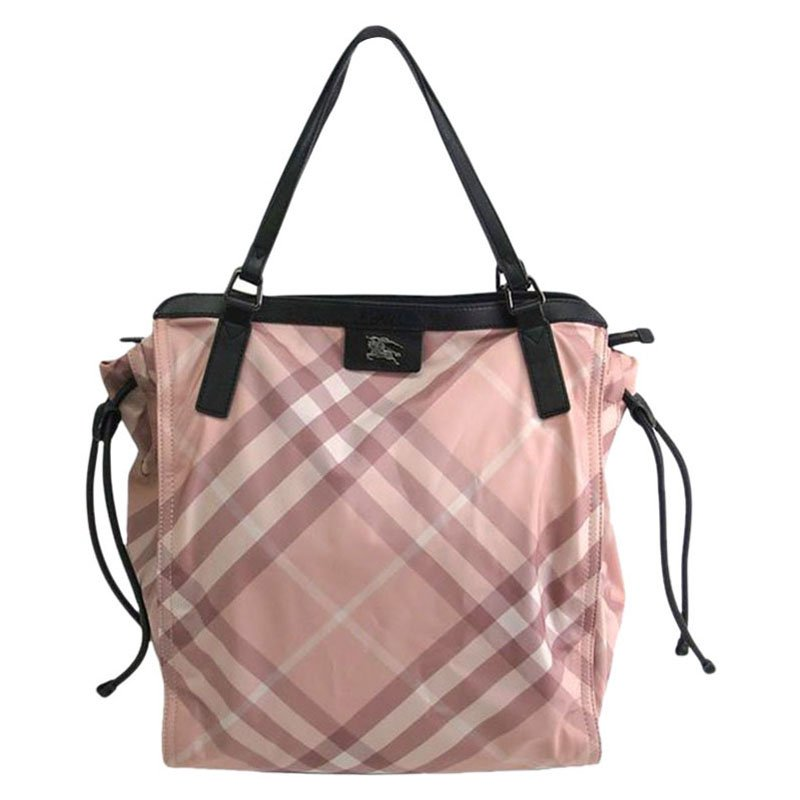 4f7cdb30c6e7 Burberry Pink Check Nylon Buckleigh Medium Packable Tote At Best