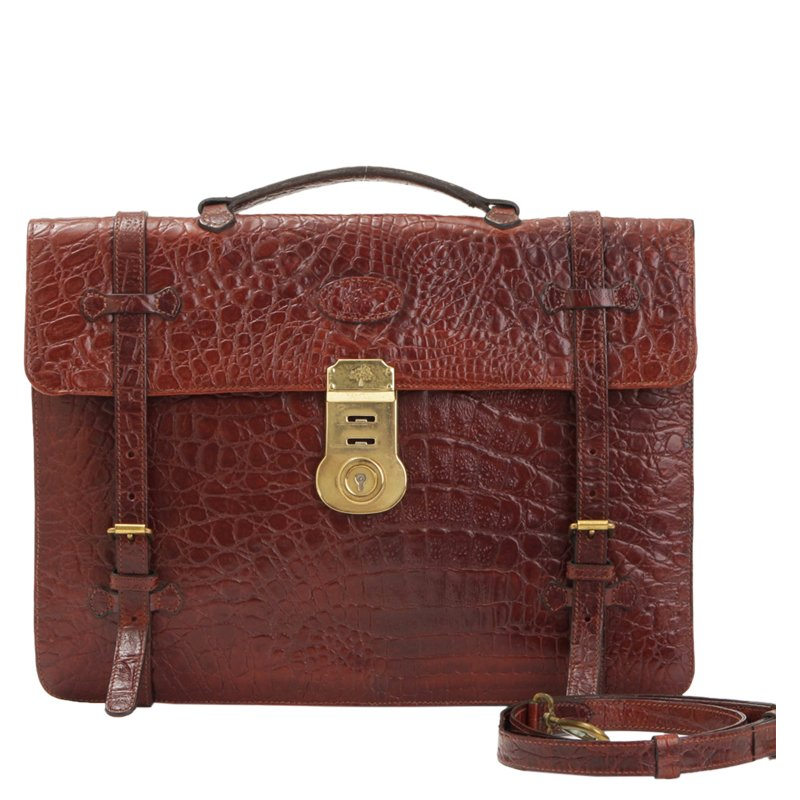 ... reduced mulberry brown croc embossed leather business briefcase buy  sell 7ad97 f4603 120c64c15d67e