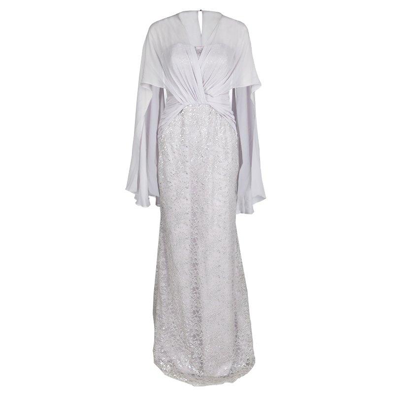Badgley Mischka Purple Lace Shoulder Drape Detail Strapless Gown M ...