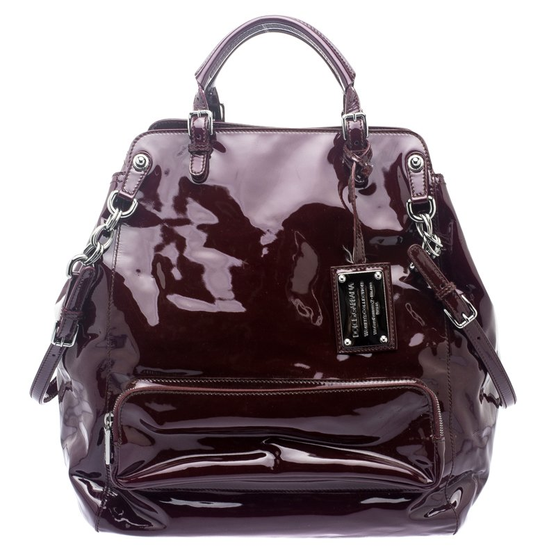 Dolce and Gabbana Burgundy Patent Leather Miss Pocket Tote. nextprev.  prevnext ... 06301ac6cdc60